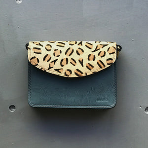 Recycled Leather Small Cross Body - Cheetah & Teal