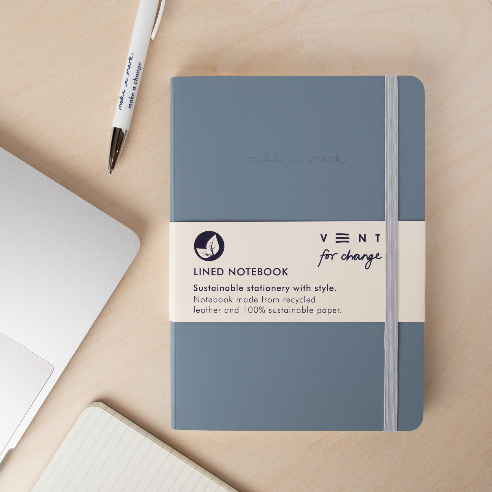 Recycled Leather A5 Notebook – Dusty Blue
