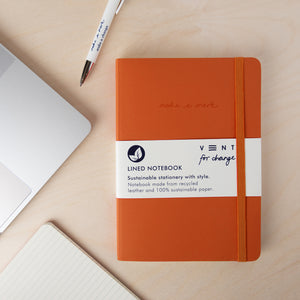 Recycled Leather A5 Notebook – Burnt Orange