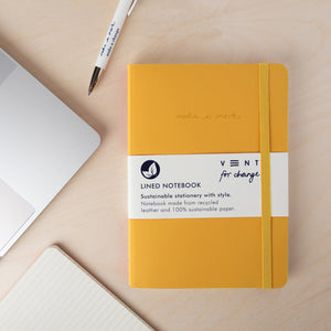 Recycled Leather A5 Notebook – Mustard Yellow