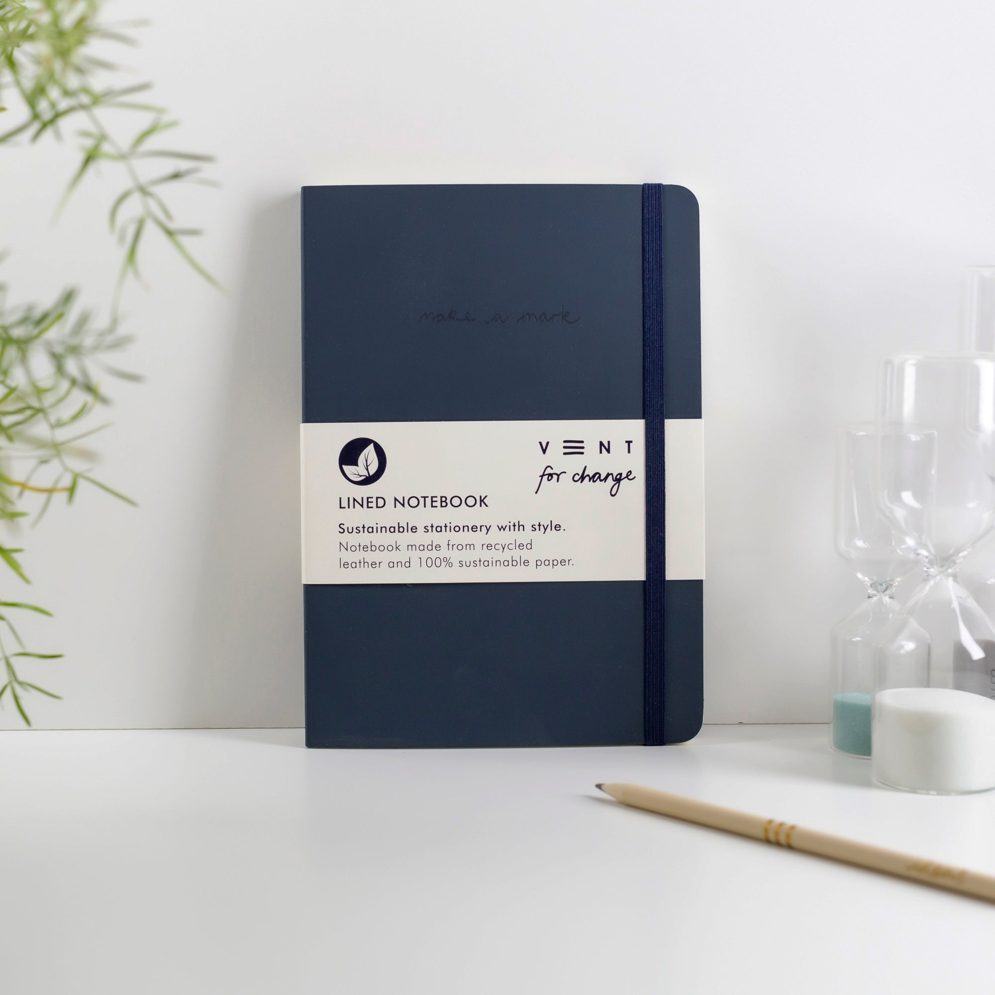 Recycled Leather A5 Notebook – Navy Blue