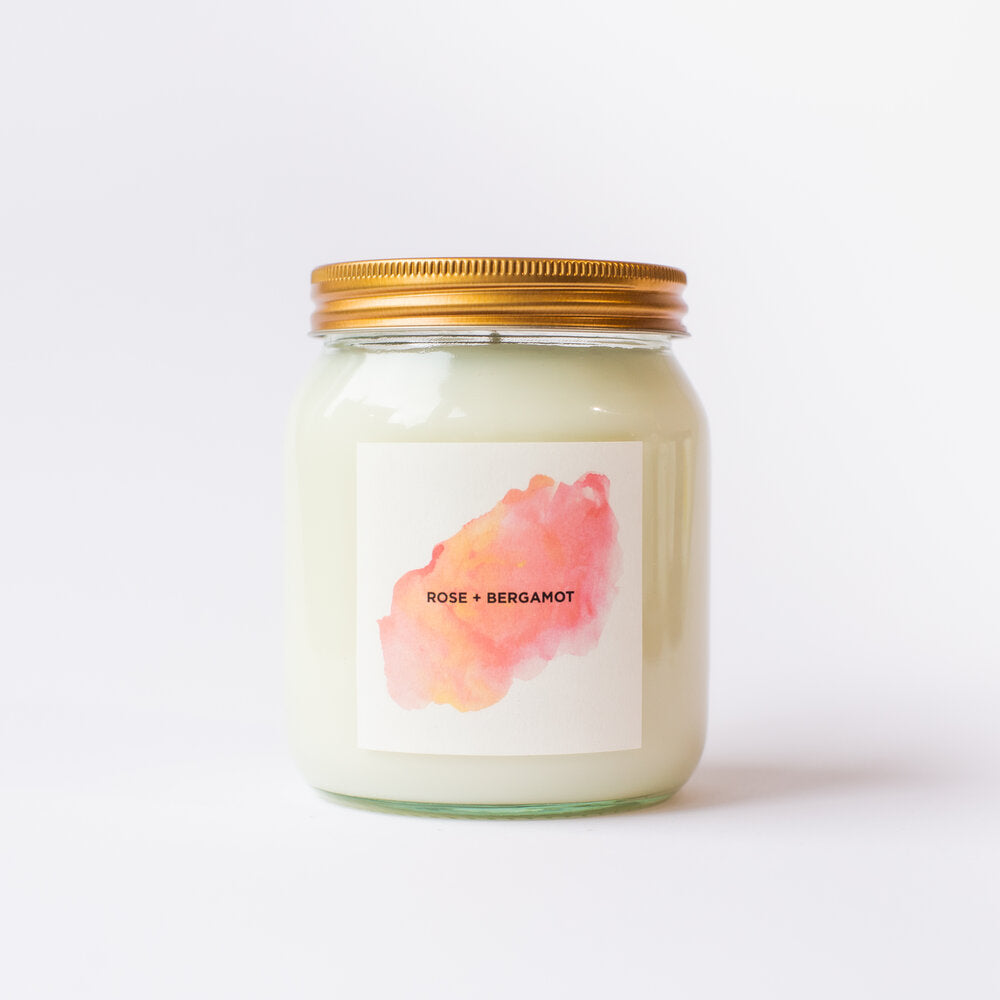 Rose & Bergamot Natural Soy Candle