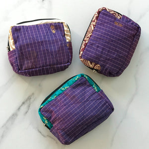 Upcycled Sari Patchwork Box Bag - Purple