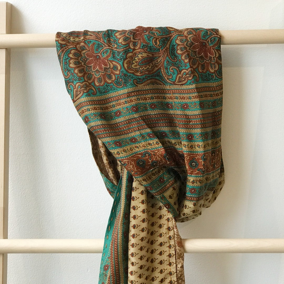 Recycled Sari Silk Scarf - Browns & Blue