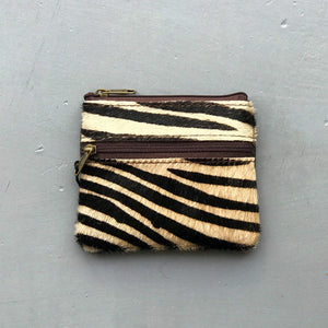 Recycled Leather Coin Purse - Animal Prints