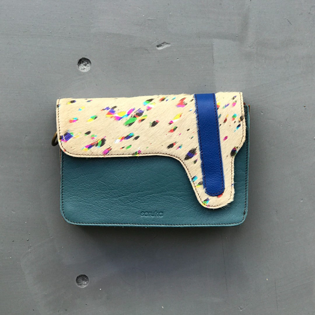 Recycled Leather Rectangle Bag Teal & Multi-Colour Animal