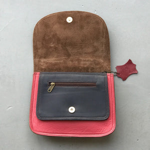 Premium Recycled Leather Small Satchel - Berry & Navy