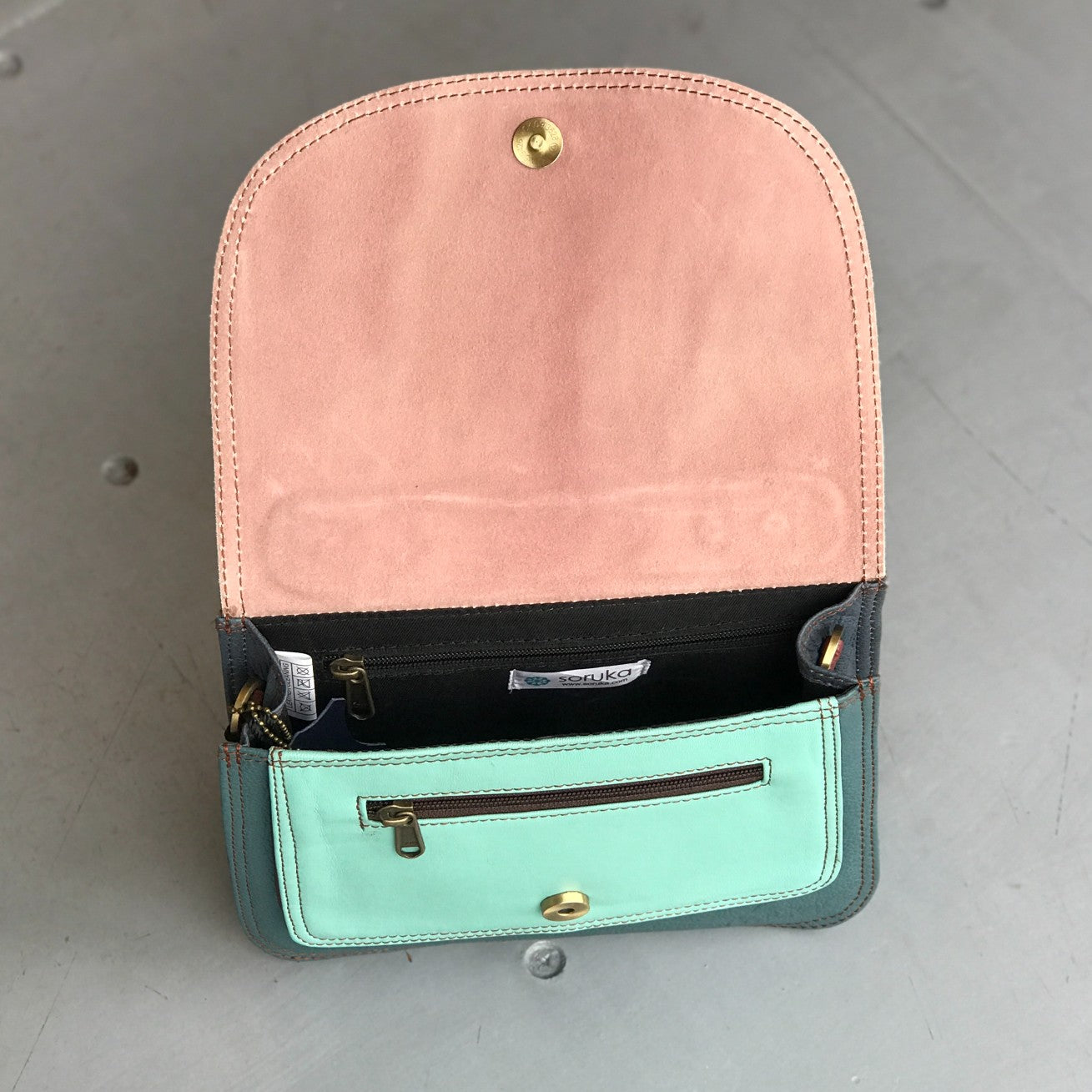 Premium Recycled Leather Small Satchel - Teal, Navy, Dusky Pink