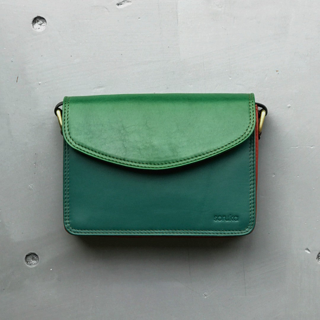 Recycled Leather Small Cross Body - Greens