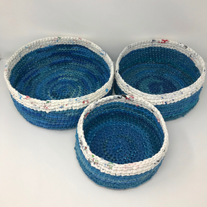 Up-Cycled Stacking Basket Set - Sky & Rice