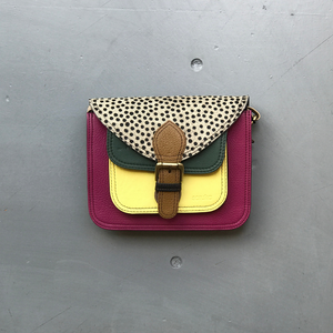 Recycled Leather Small Satchel Bag - Berry, Yellow, Spot
