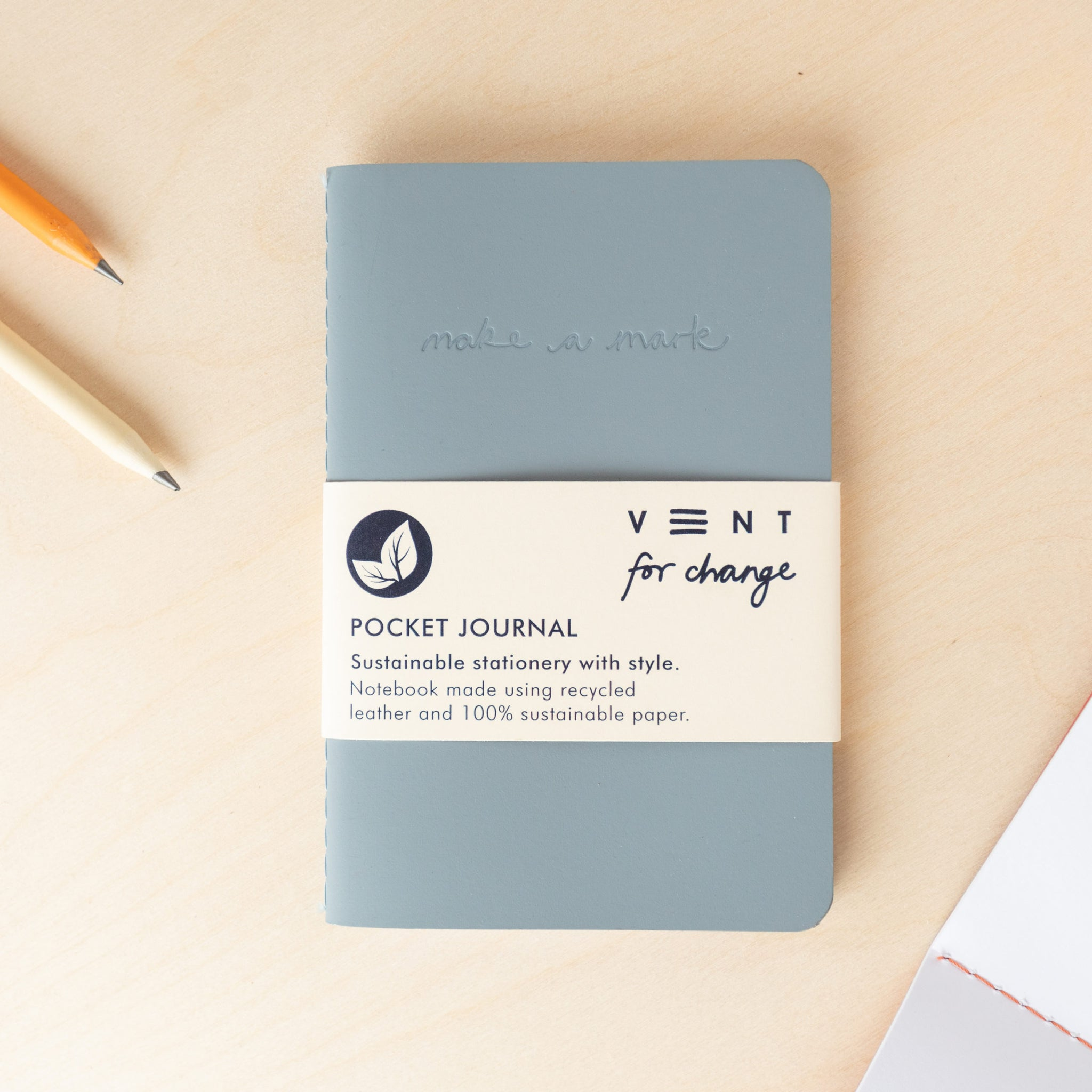 Recycled Leather Pocket Journal  – Dusty Blue