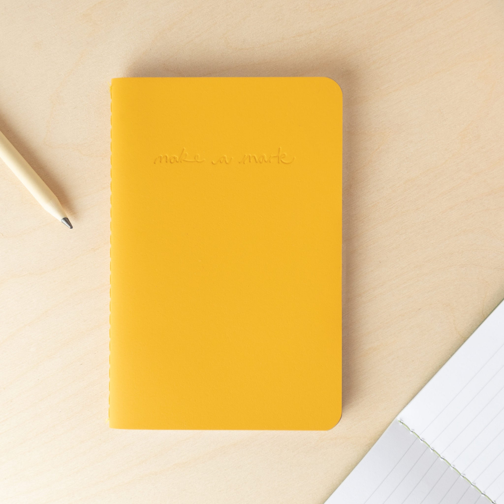 Recycled Leather Pocket Journal  – Mustard Yellow