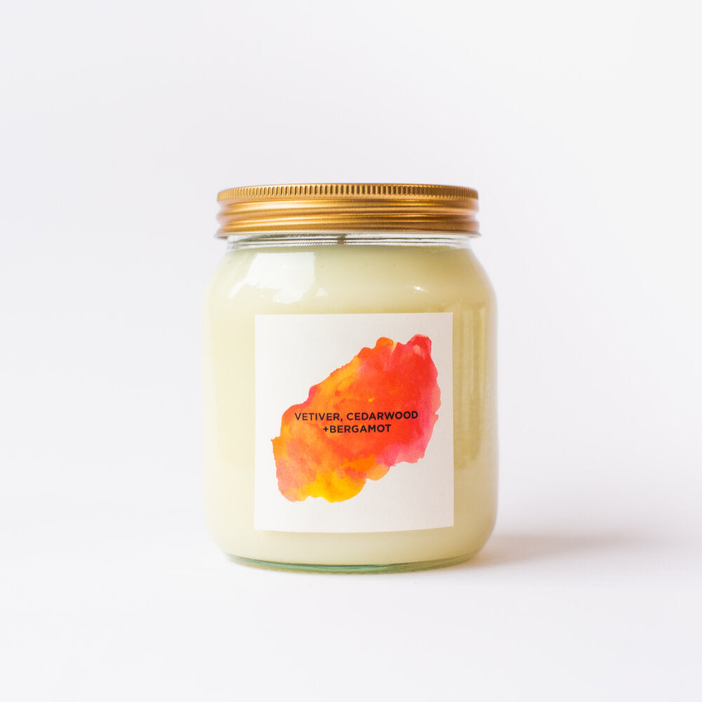 Vetiver, Cedarwood + Bergamot Natural Soy Candle