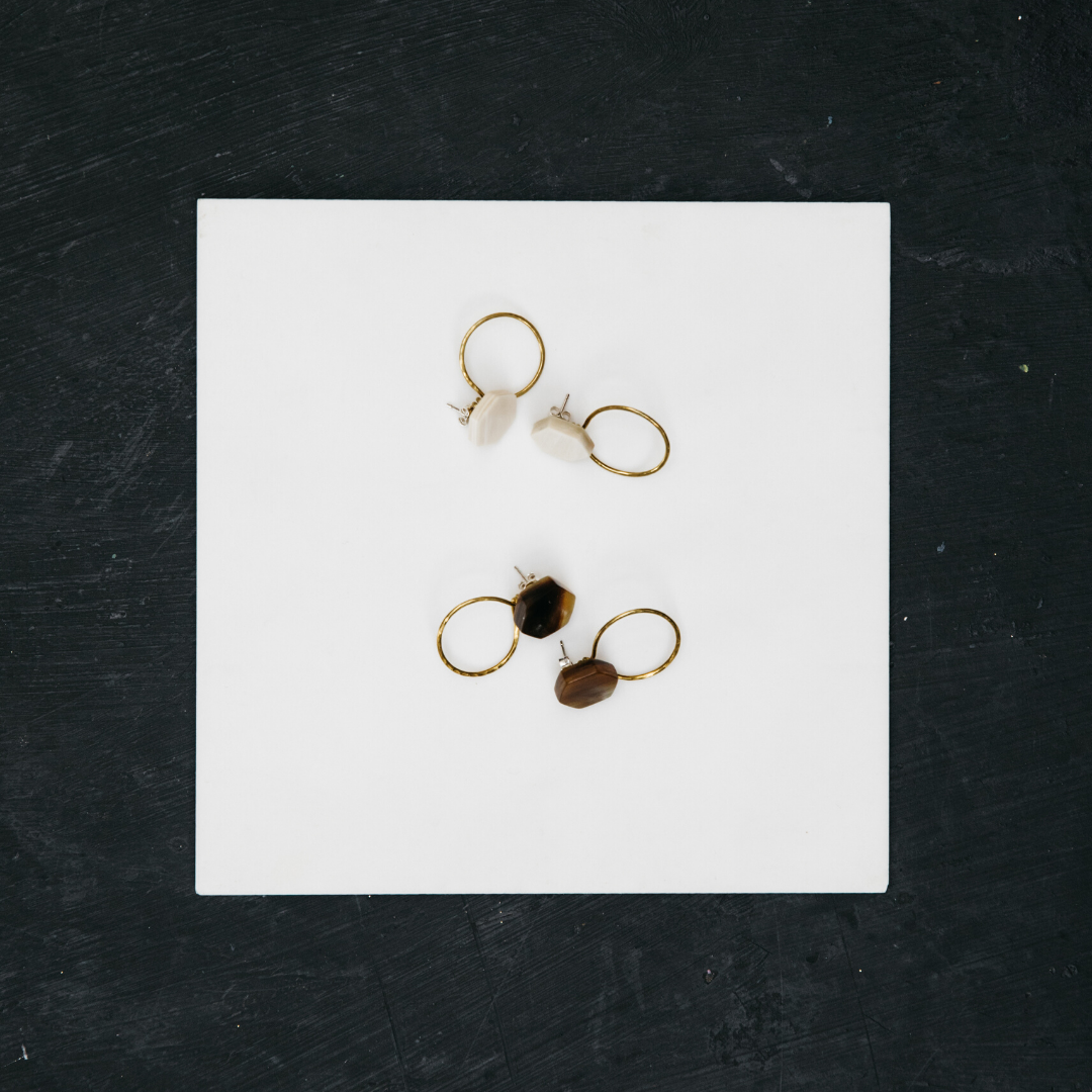 Handmade Ankole 'Strength' Stud - Dark