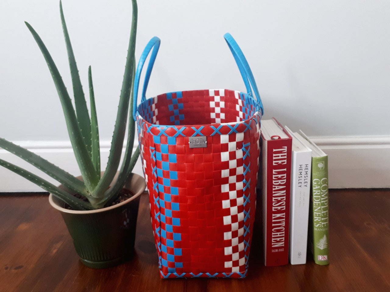 Handmade Woven Basket Red, White & Blue