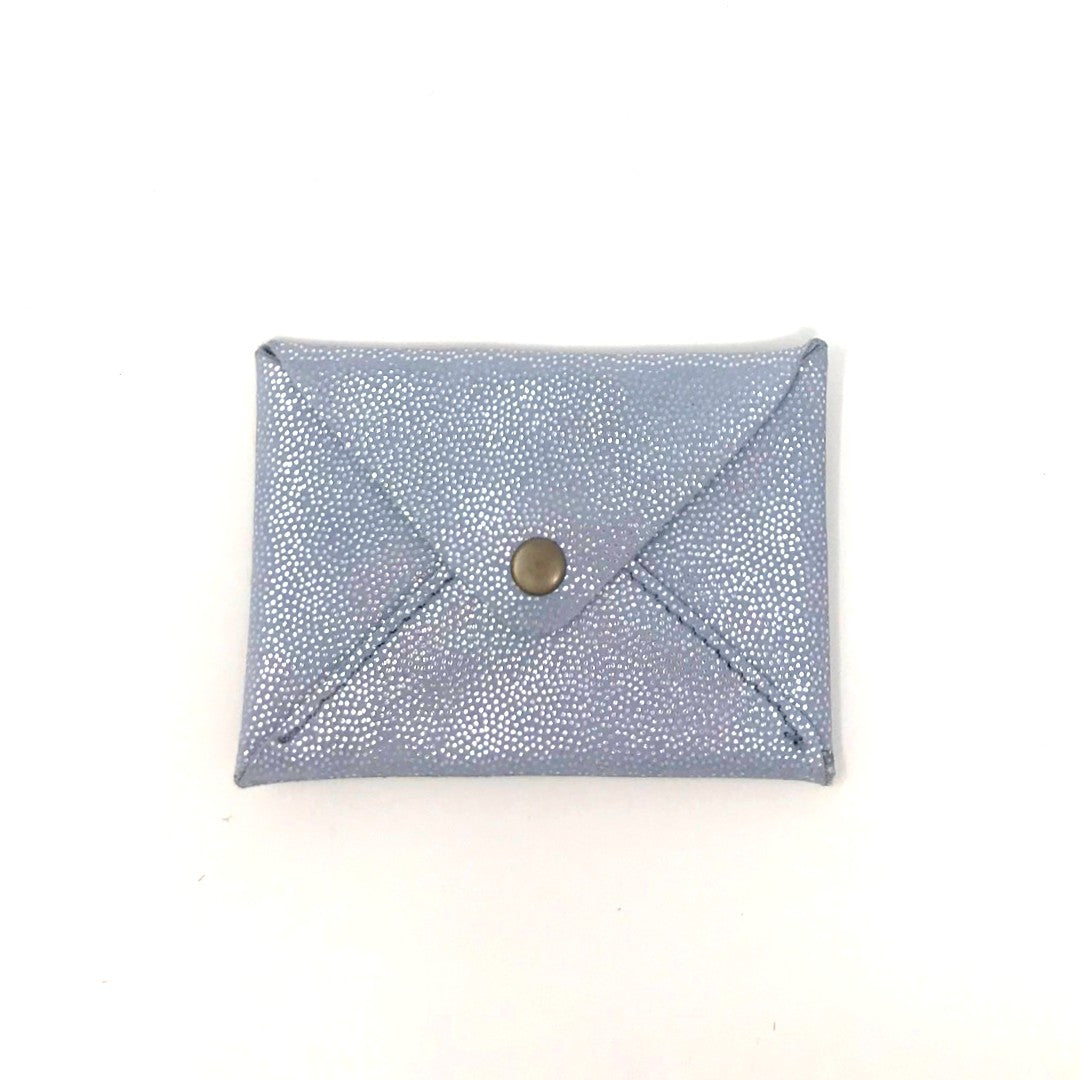 Recycled Leather Card Purse - Silver Grey