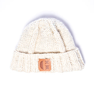 Hand-Knitted Light Reflective Fisherman's Hat: Cream