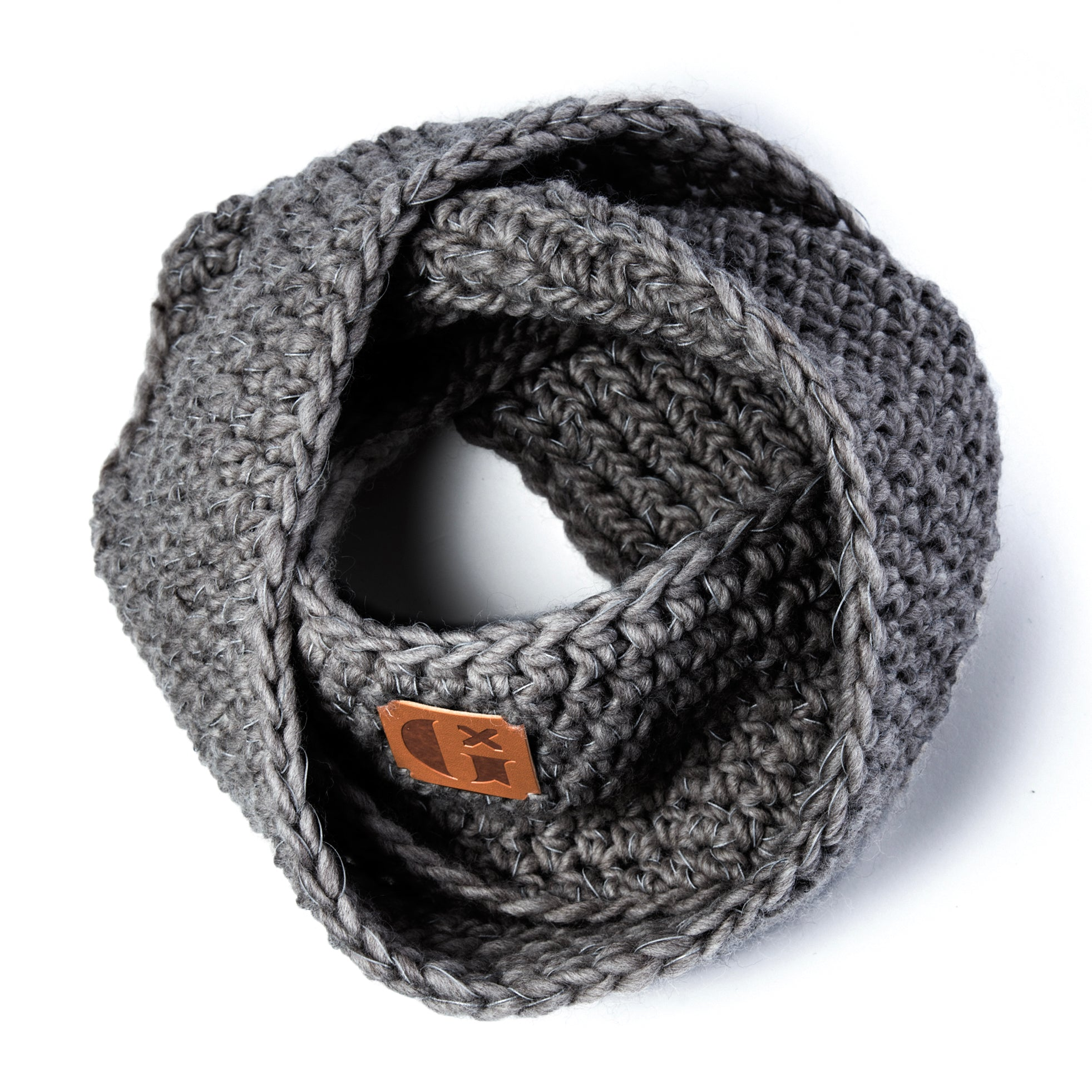 Hand-Knitted Light Reflective Twist Snood: Grey