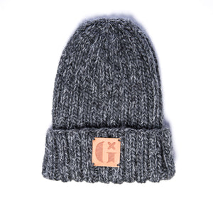 Hand-Knitted Light Reflective Beanie: Grey