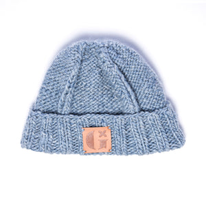 Hand-Knitted Light Reflective Fisherman's Hat: Light Blue