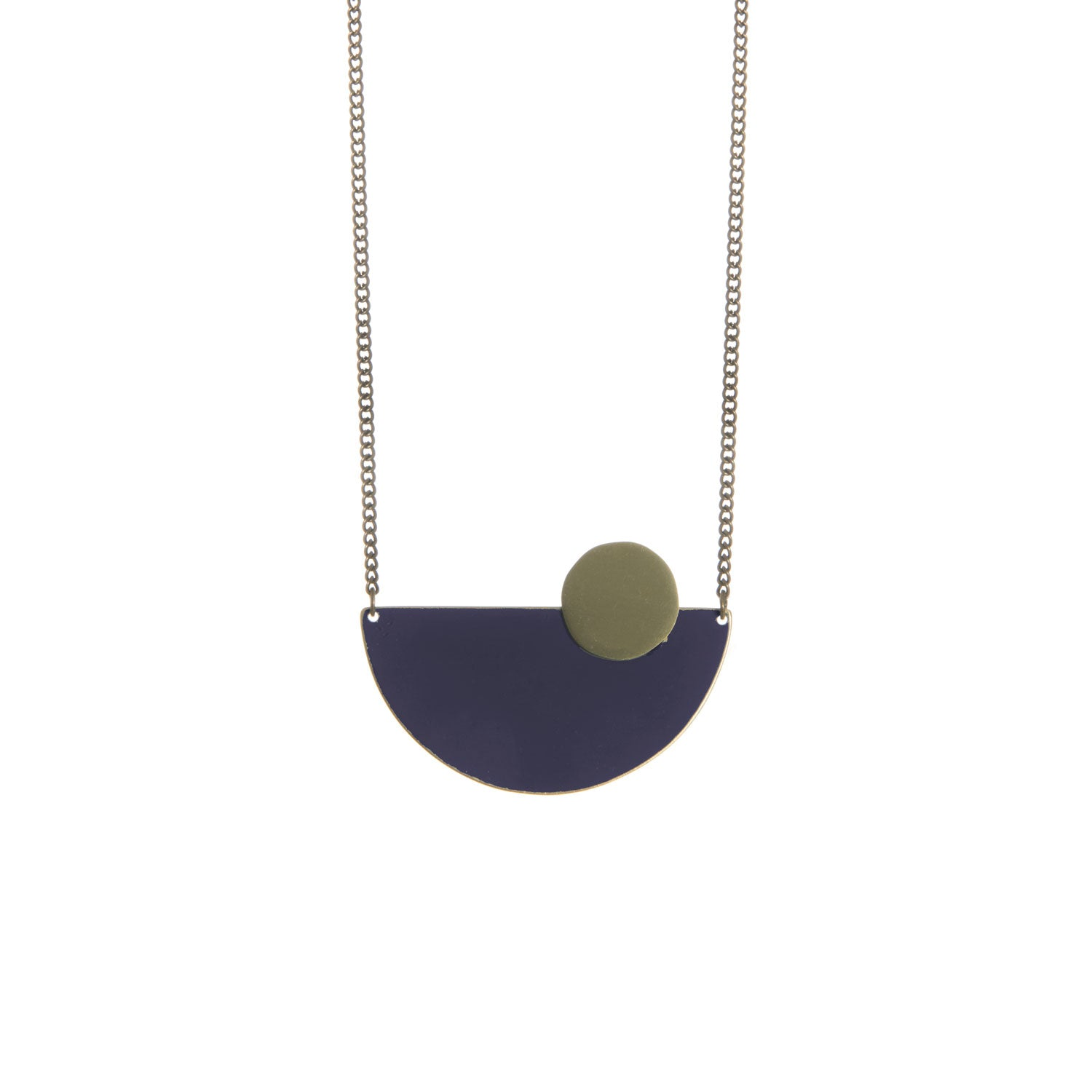 Semi Circle Navy Brass Necklace