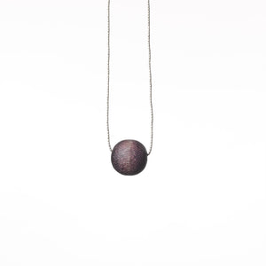 Handmade Mango Wood & Silver Ball Pendant Blackcurrant