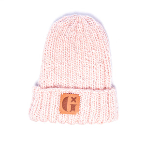 Hand-Knitted Light Reflective Beanie: Pink