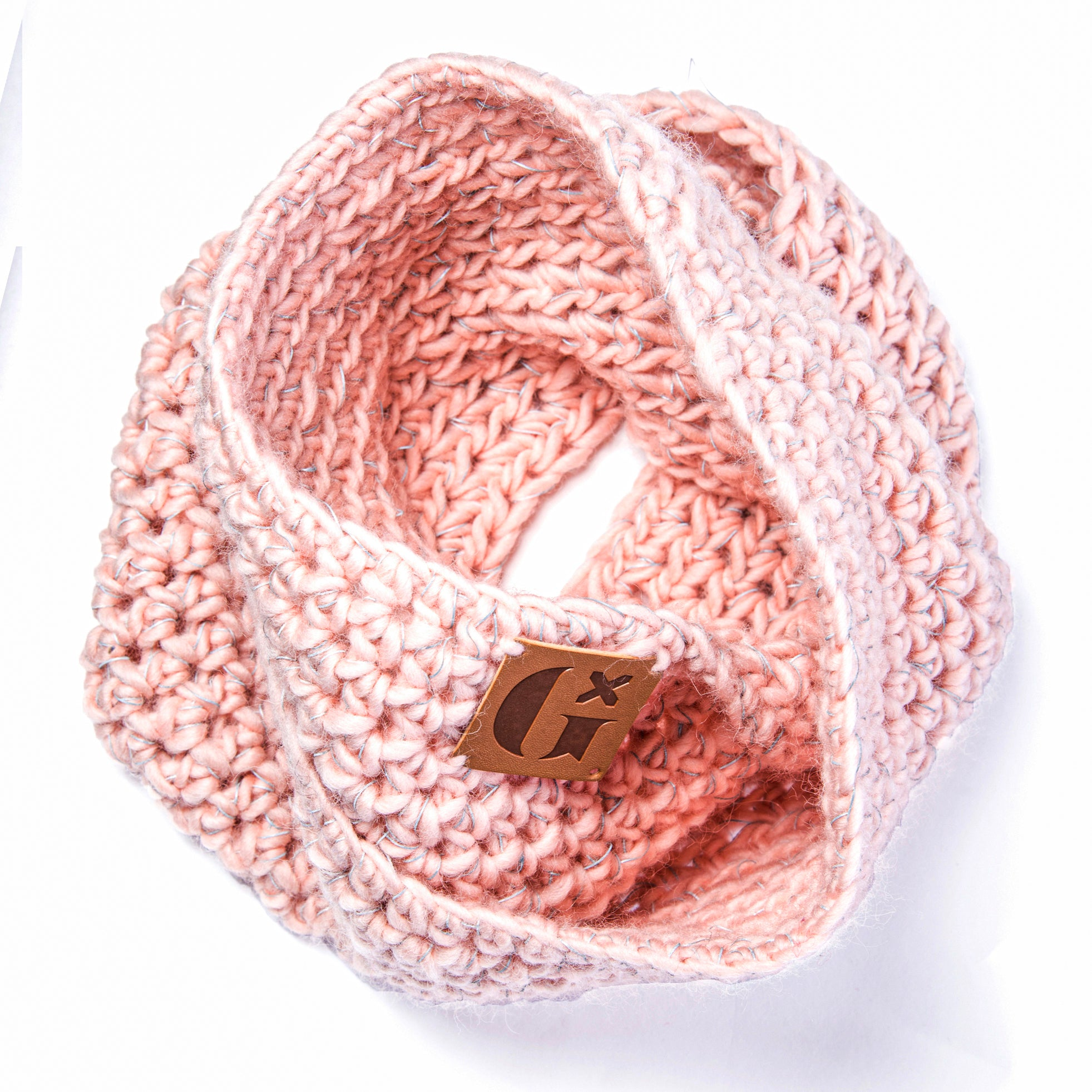 Hand-Knitted Light Reflective Twist Snood: Pink
