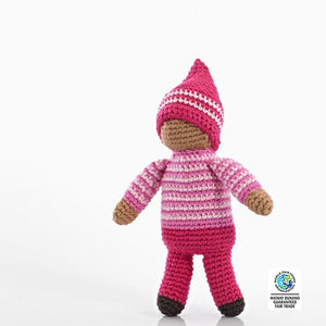 Hand-Crocheted Doll Rattle - Pink