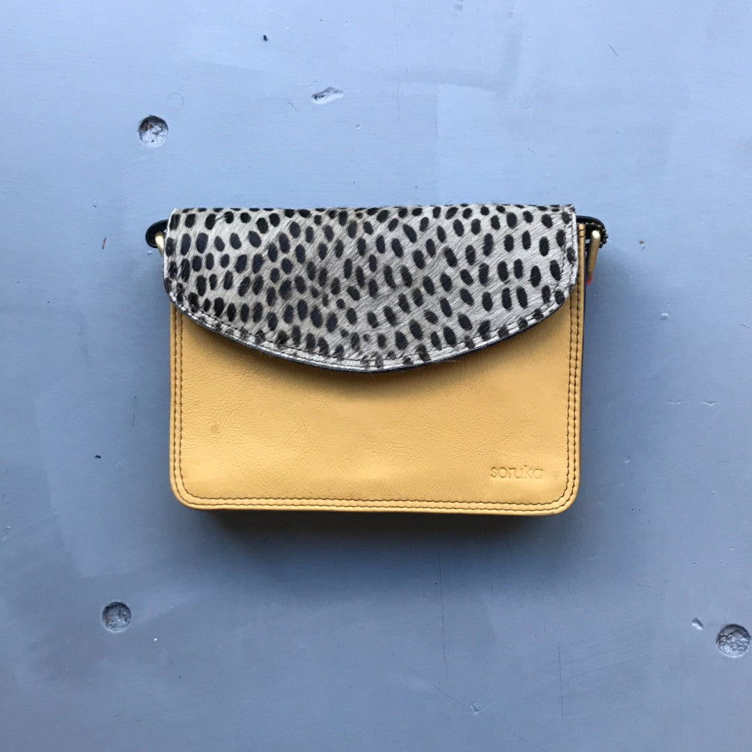 Recycled Leather Small Cross Body - Yellow & Cheetah