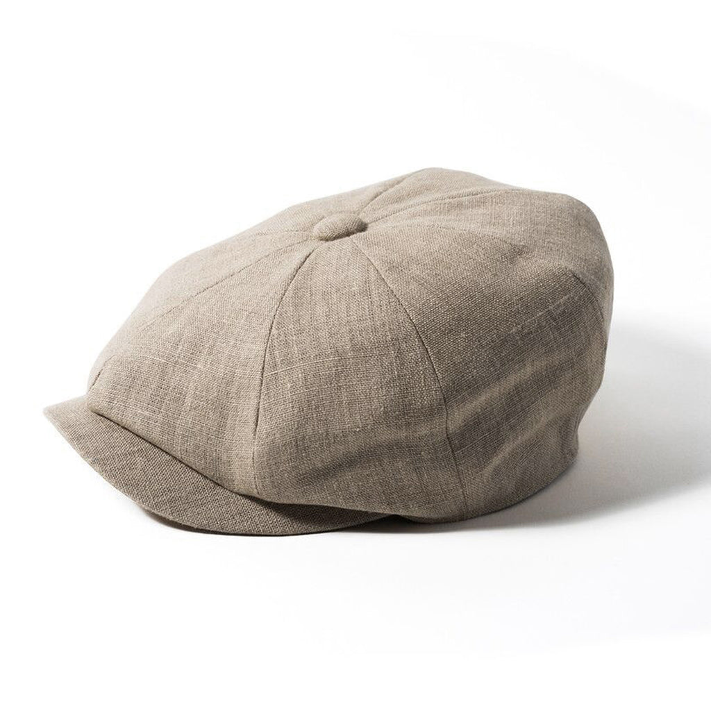 Natural or Navy Failsworth Irish Linen Flat Cap White