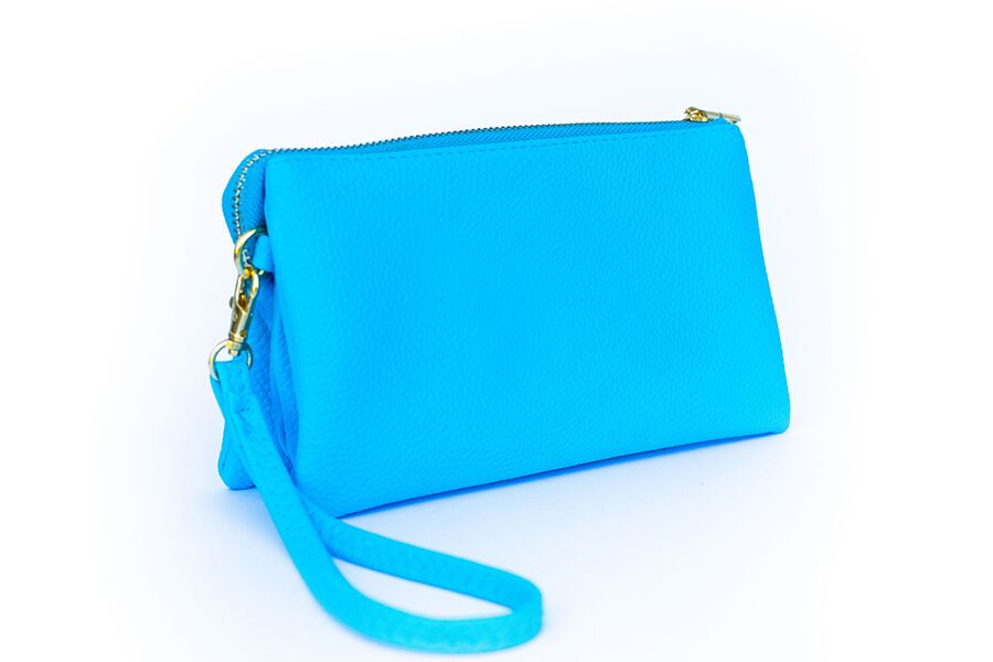 Sky Blue Monogrammed Clutch