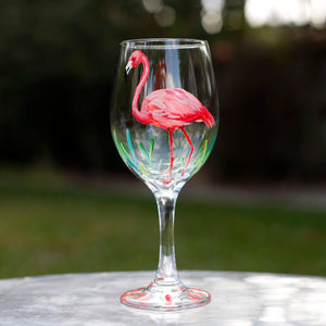 April 13 - Flamingo Wine Glass Painting