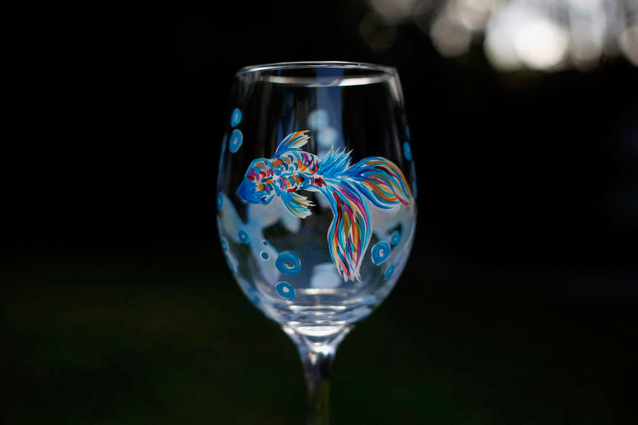 March 8 - Koi Fish Wine Glass Painting