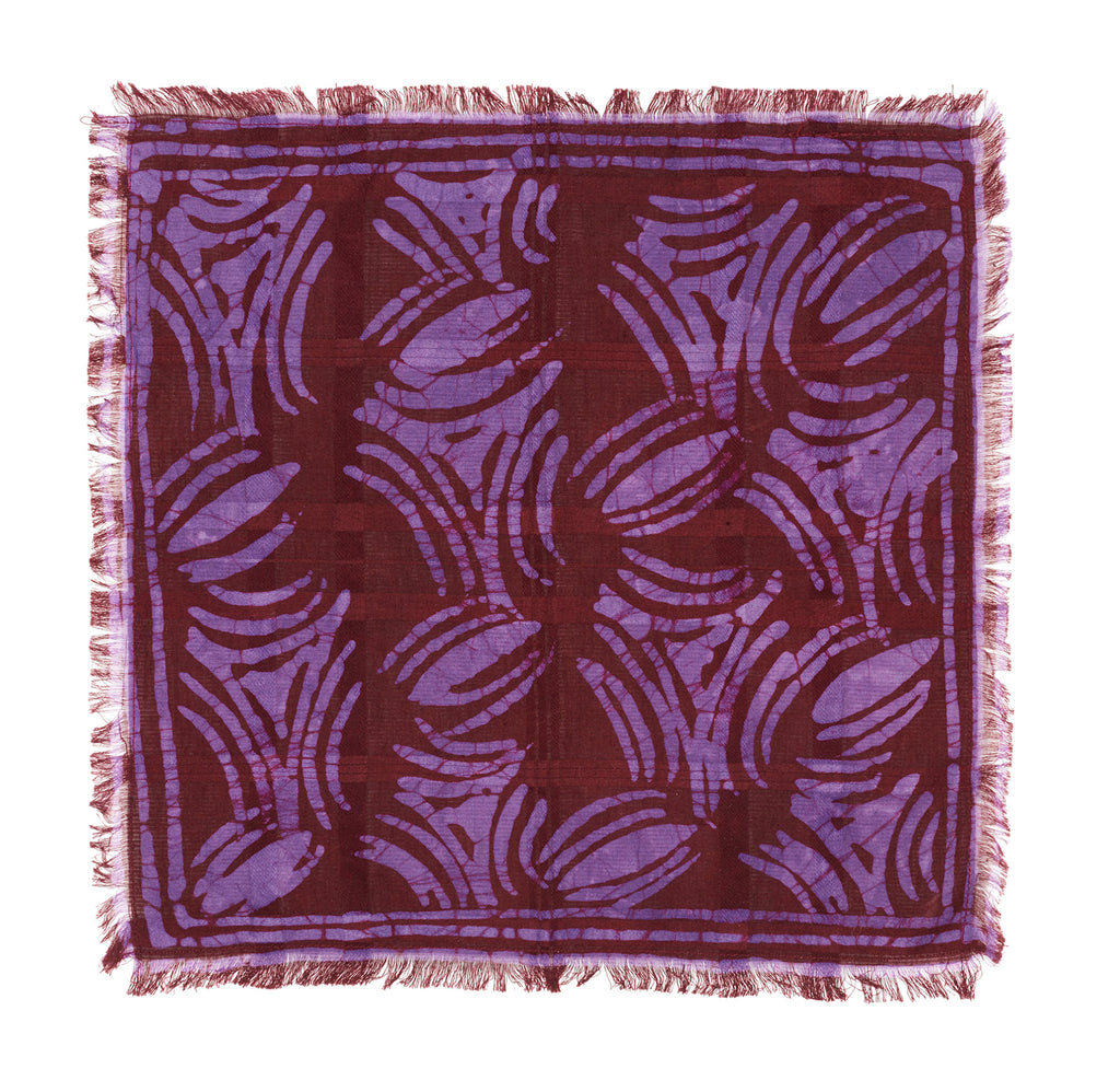 Post-Imperial Adire Red Purple Dyed Abstract Pattern Pocket Square. Dyed in Nigeria, Made in USA.
