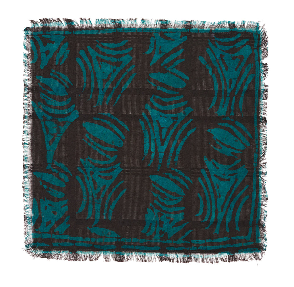 Post-Imperial Adire Green Brown Dyed Abstract Pattern Pocket Square. Dyed in Nigeria, Made in USA.