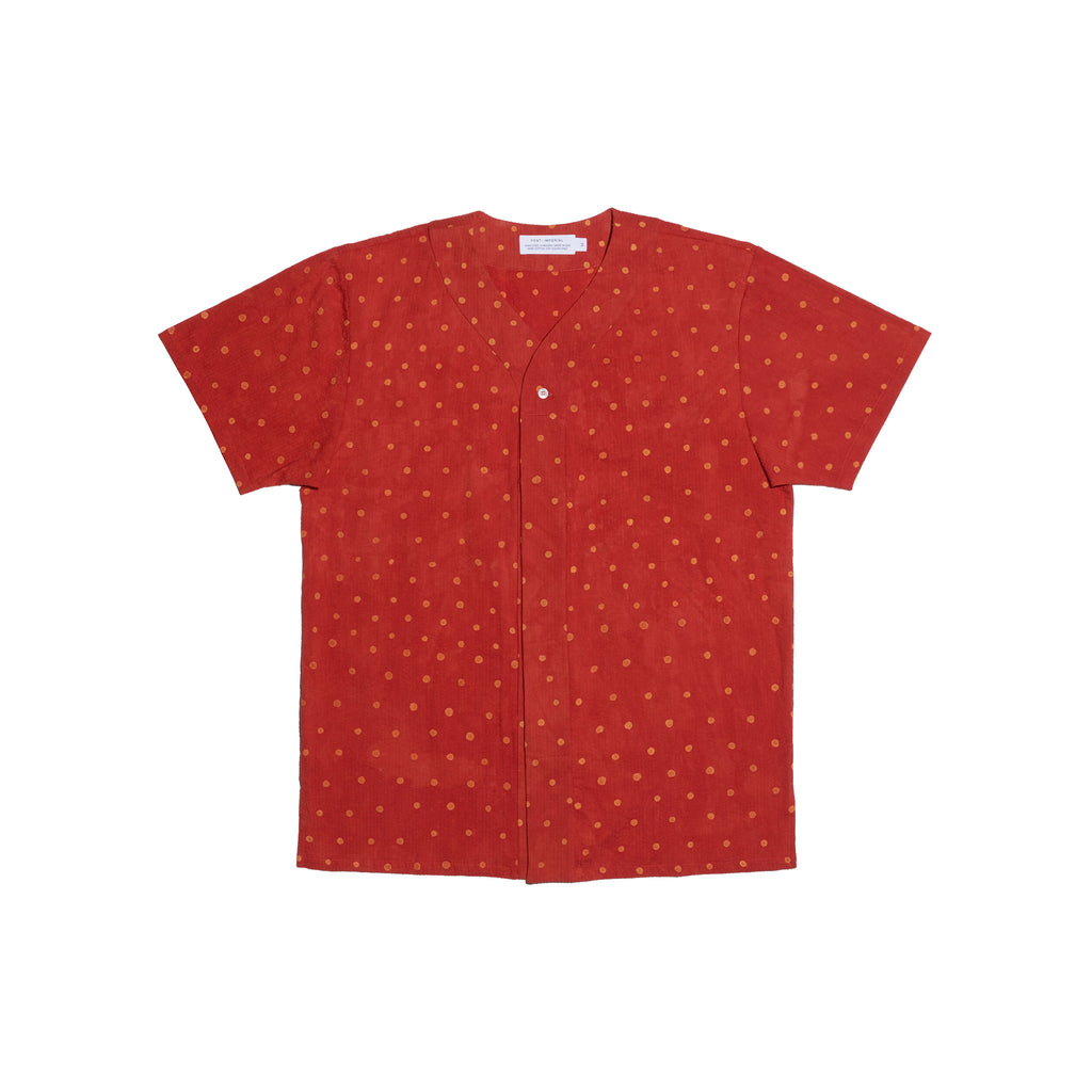 Post-Imperial Adire Red dyed Polkadot Baseball shirt. Dyed in Nigeria, Made in USA