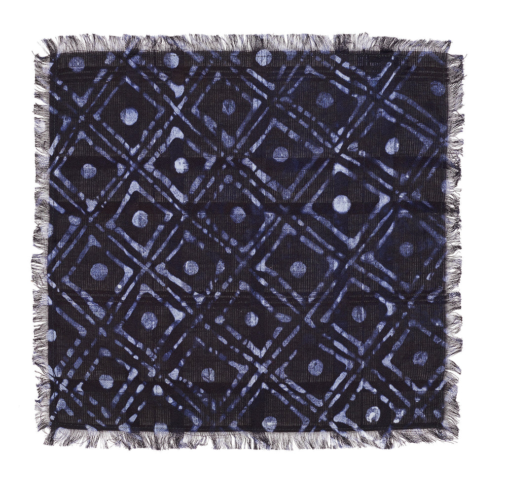 Post-Imperial Adire Indigo Family House Pattern Pocket Square. Dyed in Nigeria, Made in USA.