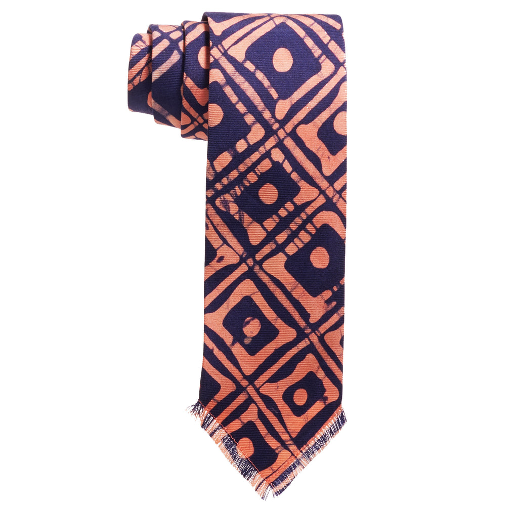 Post-Imperial Adire Indigo Red Dyed Family House Pattern Tie. Dyed in Nigeria, Made in USA