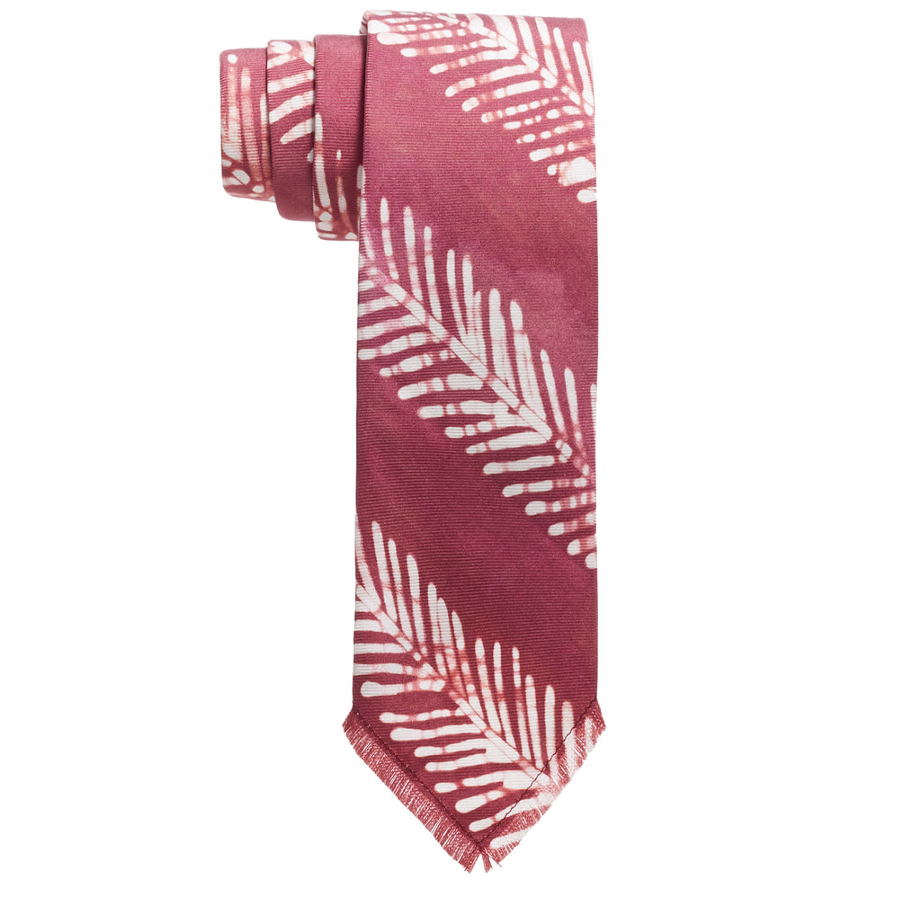 Post-Imperial Adire Burgundy Dyed Fishbone Stripe Tie. Dyed in Nigeria, Made in USA