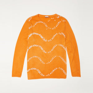 Ijebu Long Sleeve T-shirt in Jollof Wave Print Orange
