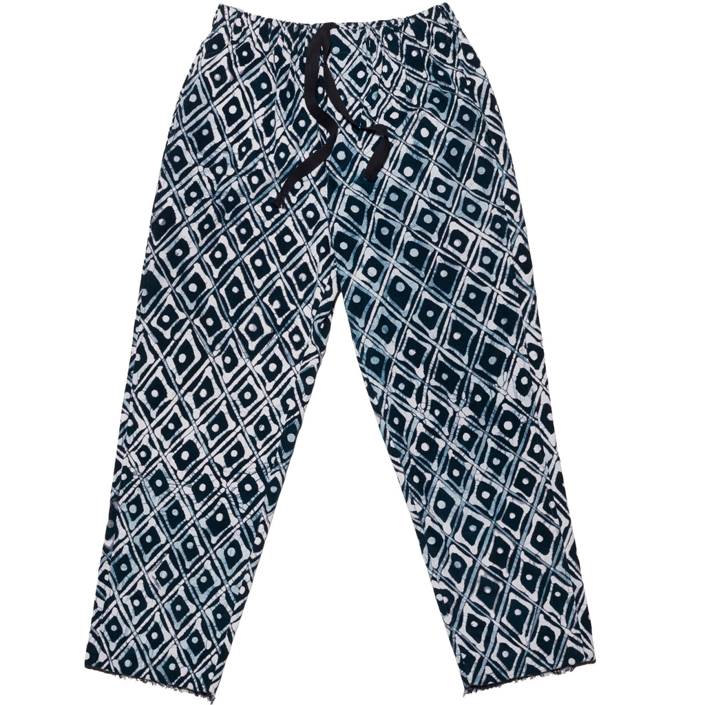 Post-Imperial Lagos Corduroy Pants with with Adire Indigo Dyed Family House Pattern. Dyed in Nigeria, Made in USA