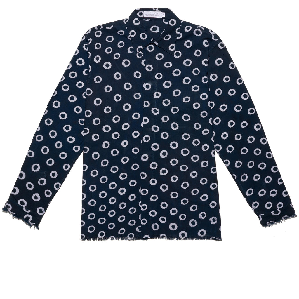 Post-Imperial Lagos Shirt with Adire Indigo Dyed Circle Pattern. Dyed in Nigeria, Made in USA