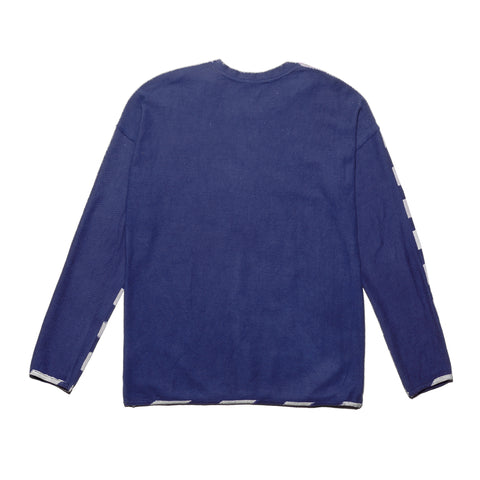 Post-Imperial Lagos Sweatshirt with Adire Indigo Dyed Rugby Stripe Pattern. Dyed in Nigeria, Made in USA.