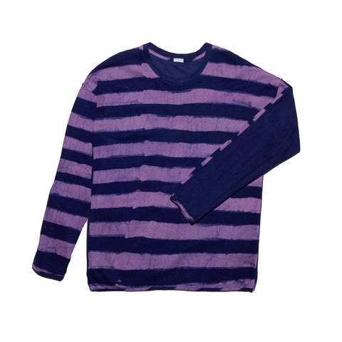 Post-Imperial Lagos Sweatshirt with Adire Purple/Indigo Dyed Rugby Stripe Pattern. Dyed in Nigeria, Made in USA.