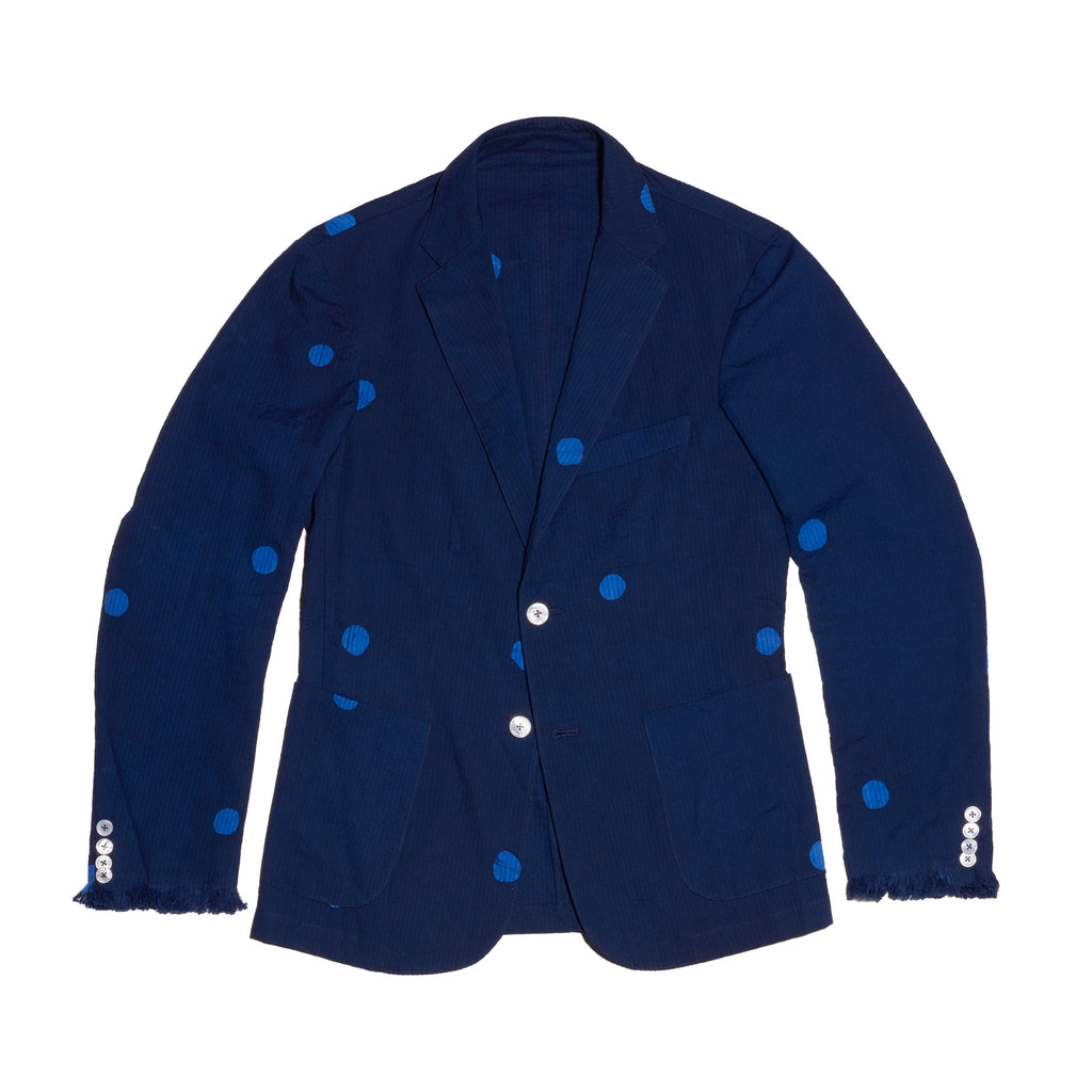 Post-Imperial Standard indigo-Azure Megadot pattern jacket. Hand dyed in Nigeria. Made in USA