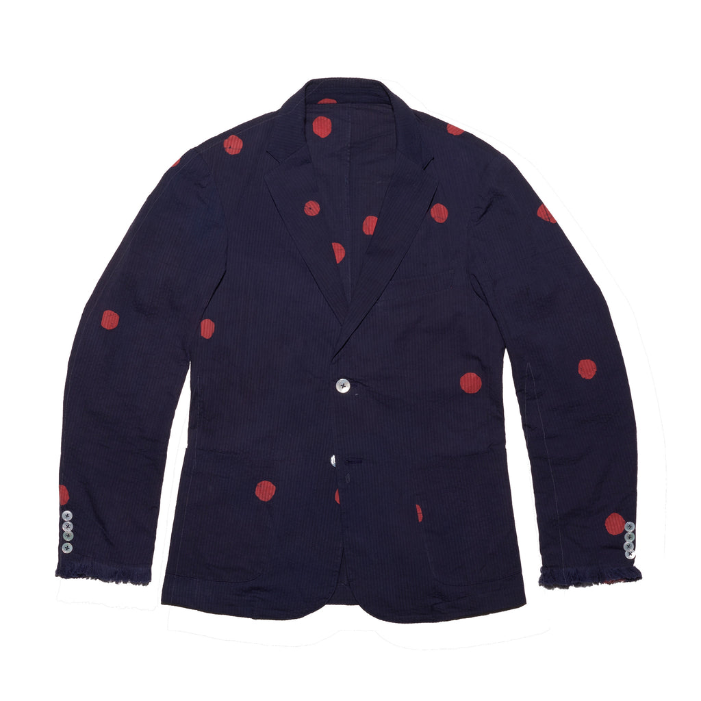 Post-Imperial Standard indigo-red Megadot pattern jacket. Hand dyed in Nigeria. Made in USA