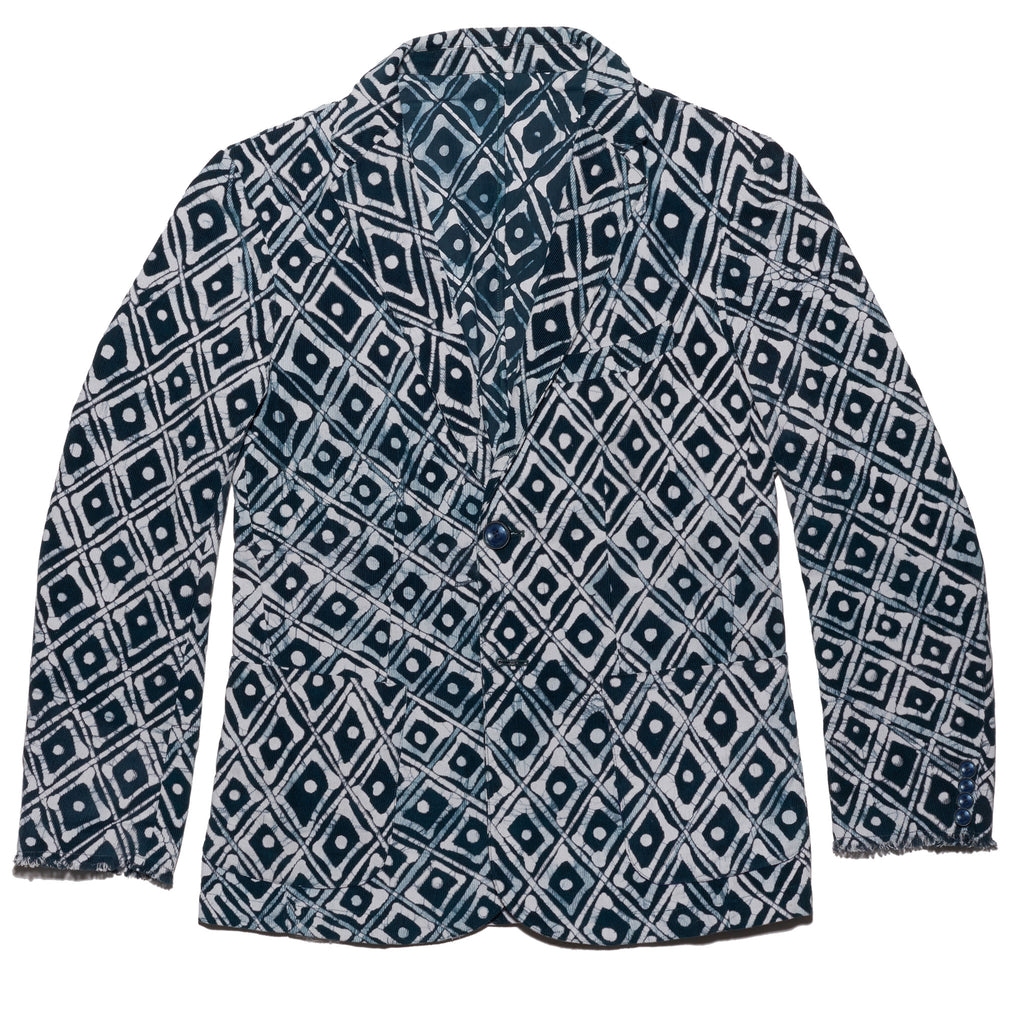 Post-Imperial Standard Corduroy Sport Jacket with Adire Indigo Dyed Family House Pattern. Dyed in Nigeria, Made in USA