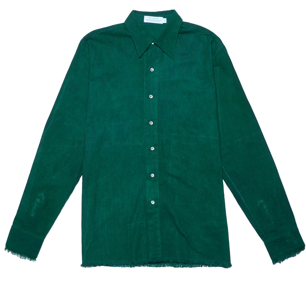 Post-Imperial Standard Shirt with Adire Green Dyed. Dyed in Nigeria, Made in USA